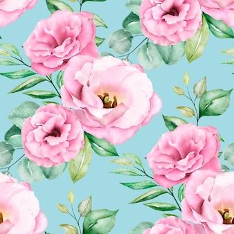 Patrón transparente floral acuarela rosa suave
