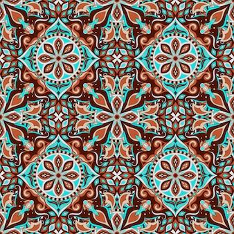 Patrón transparente floral adornado con mandala vintage