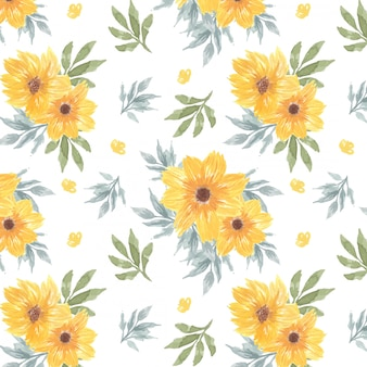 Patrón transparente floral amarillo con flores de margarita