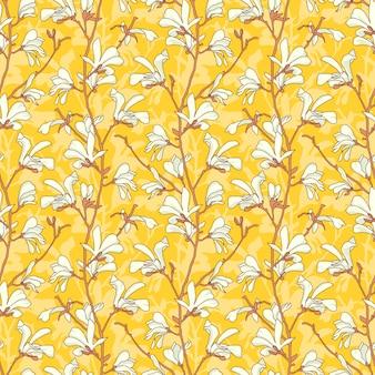 Patrón transparente floral amarillo con rama y flor de magnolia blanca.
