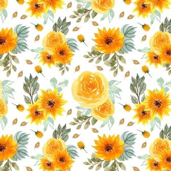 Patrón transparente floral amarillo
