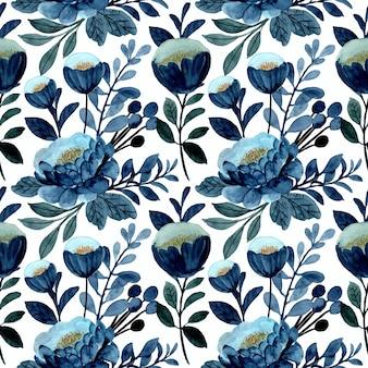 Patrón transparente floral azul con acuarela