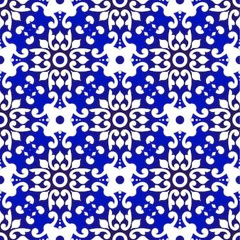 Patrón transparente floral azul y blanco