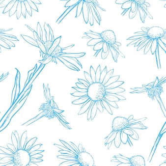Patrón transparente floral azul dibujado a mano ilustración de vector de manzanilla
