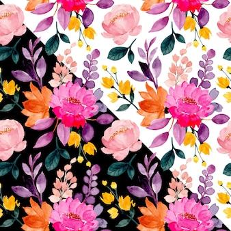 Patrón transparente floral colorido con acuarela
