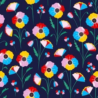 Patrón transparente floral colorido