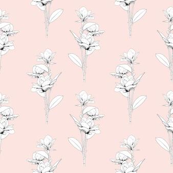 Patrón transparente floral con flores de magnolia sobre fondo rosa pastel