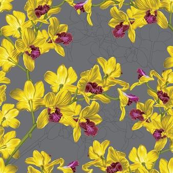 Patrón transparente floral con fondo abstracto de flores de orquídeas amarillas.