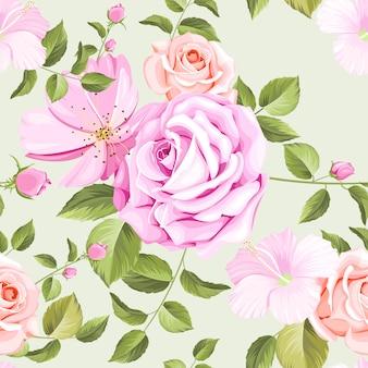 Patrón transparente floral y hojas