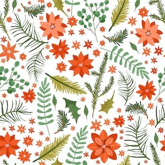 Patrón transparente floral de navidad.