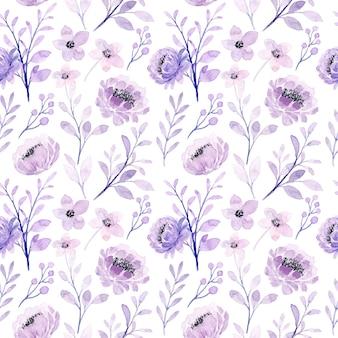 Patrón transparente floral púrpura suave con acuarela