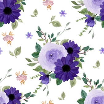 Patrón transparente floral púrpura