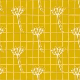 Patrón transparente floral de verano brillante con figuras de diente de león de contorno blanco. fondo amarillo con cheque.