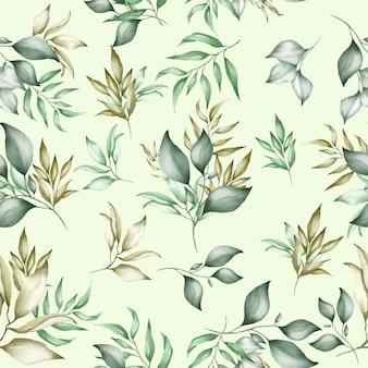 Patrón transparente floral verde