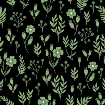 Patrón transparente floral verde.