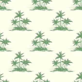 Patrón transparente floral vintage con palmeras.