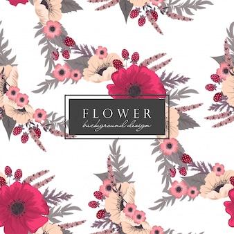 Patrón transparente de fondo floral rosa fuerte