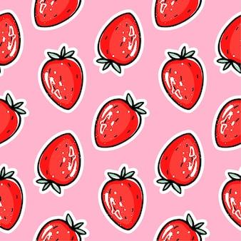 Patrón transparente de fresa roja. berry repite el fondo. impresión de frutas de verano. estilo de dibujos animados lindo. ilustración colorida para papel de embalaje, embalaje, tela.