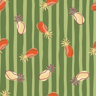 Patrón transparente fresco tropical con adornos de piñas rojas y beige al azar