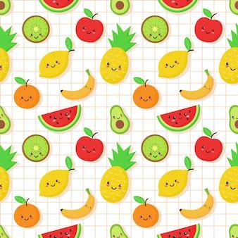 Patrón transparente de frutas tropicales en estilo kawaii