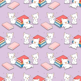 Patrón transparente de gatos y libros