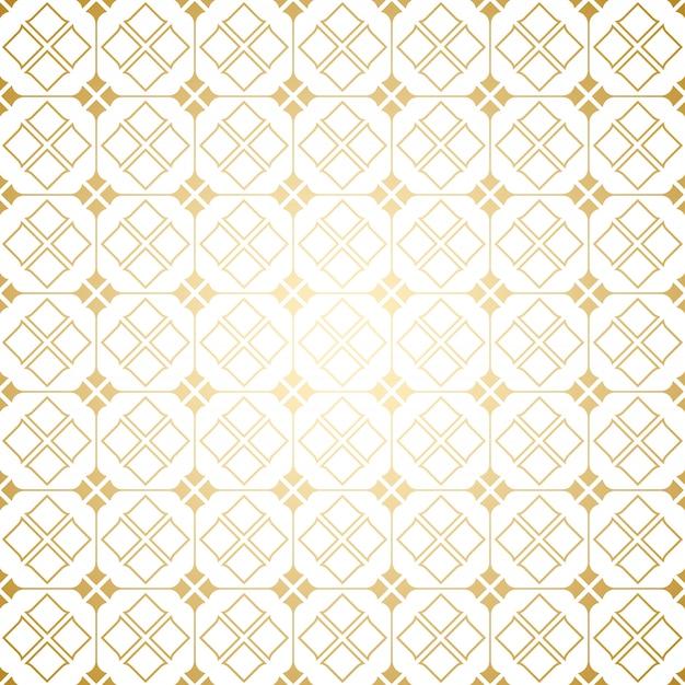Patrón transparente geométrico art decó dorado y blanco