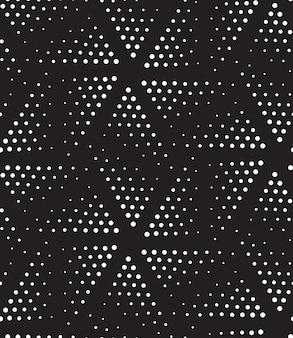 Patrón transparente geométrico de semitono de vector en blanco y negro puntillismo de diseño moderno de semitono