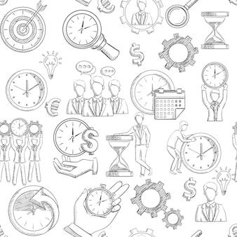 Patrón transparente de gestión de tiempo con elementos de estrategia de planificación de croquis