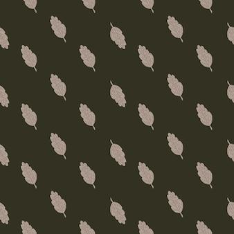 Patrón transparente de hoja de otoño gris pálido.
