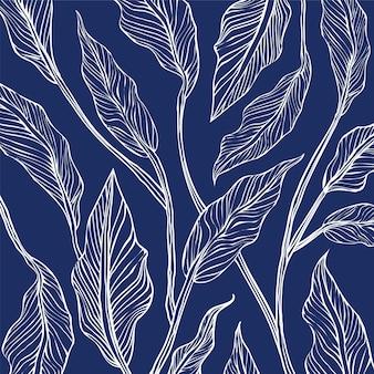 Patrón transparente de hojas de impresión azul.