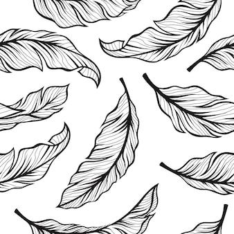 Patrón transparente de hojas de plátano en diseño vintage