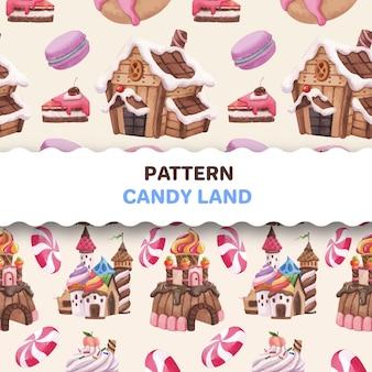 Patrón transparente con ilustración acuarela de diseño de concepto de tierra de caramelo
