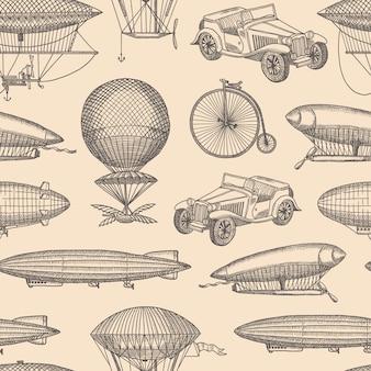Patrón transparente con ilustración de aeronaves, bicicletas y coches de steampunk mano dibujada