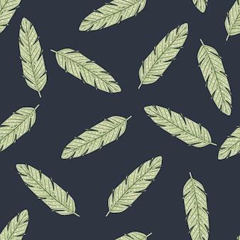 Patrón transparente de impresión aleatoria de ornamento de pluma verde pastel