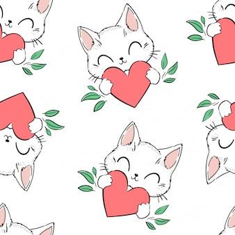 Patrón transparente lindo gato y corazón de fondo. ilustración. diseño de impresión para textiles para bebés, linda tela.