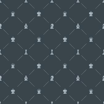Patrón transparente de lujo gris con símbolos de ajedrez