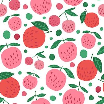 Patrón transparente de manzanas rojas y hojas