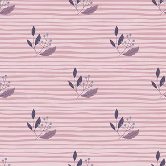 Patrón transparente minimalista con hojas y adornos de bayas de doodle
