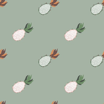 Patrón transparente minimalista en tonos pálidos con formas de pitaya.