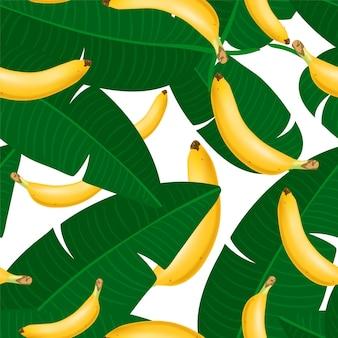 Patrón transparente de moda con racimo de plátano realista y hojas tropicales