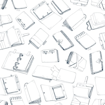 Patrón transparente monocromo con blocs de notas, cuadernos, diarios, cuadernos de bocetos dibujados a mano con líneas de contorno