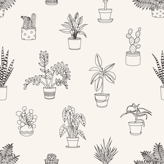 Patrón transparente monocromo con plantas en macetas dibujadas con líneas de contorno en blanco