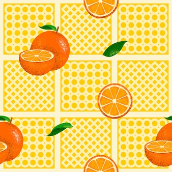 Patrón transparente de naranjas con textura Vector Premium