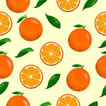 Patrón transparente de naranjas