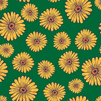 Patrón transparente natural con elementos de girasol contorneados amarillos al azar. fondo verde. ilustración vectorial para estampados textiles de temporada, telas, pancartas, fondos y fondos de pantalla.