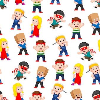 Patrón transparente con niños posando como los superhéroes.