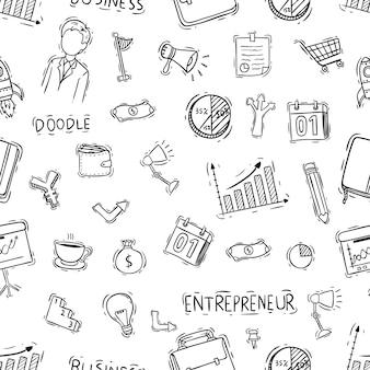 Patrón transparente de objetos de negocio con estilo doodle