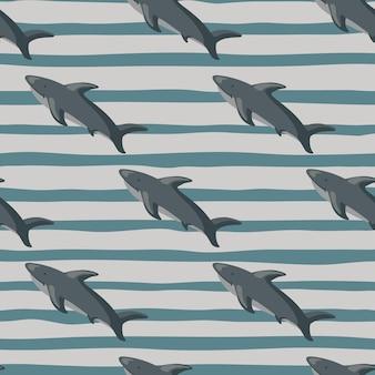 Patrón transparente de ornamento de tiburón diagonal gris. fondo rayado. arte simple de la naturaleza del libro de recuerdos.
