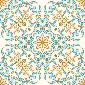 Patrón transparente de oro y azul con adornos de arte