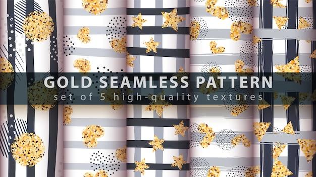 Patrón transparente de oro princesa brillo